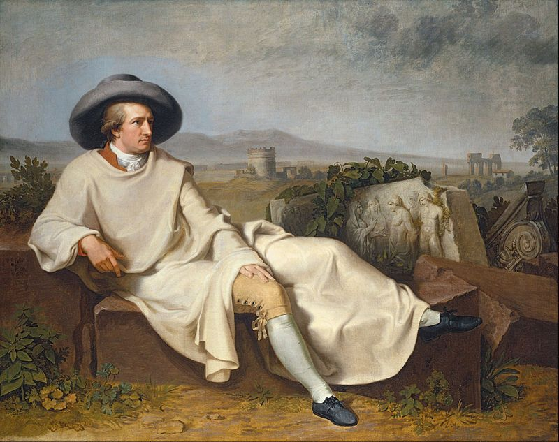 An image of Goethe, ironically, at rest. | Goethe in the Roman Campagna (1786) by Johann Heinrich Wilhelm Tischbein | Image Source: [Wikipedia](https://en.wikipedia.org/wiki/Johann_Wolfgang_von_Goethe#/media/File:Johann_Heinrich_Wilhelm_Tischbein_-_Goethe_in_the_Roman_Campagna_-_Google_Art_Project.jpg)